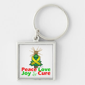 Bladder Cancer Peace Love Joy Cure Silver-Colored Square Keychain