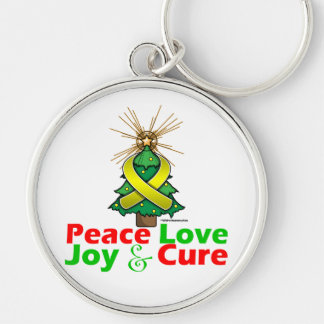 Bladder Cancer Peace Love Joy Cure Silver-Colored Round Keychain