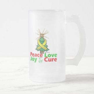 Bladder Cancer Peace Love Joy Cure 16 Oz Frosted Glass Beer Mug