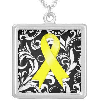 Bladder Cancer Ribbon Deco Floral Noir Custom Necklace