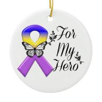 Bladder Cancer Ribbon For My Hero Ceramic Ornament