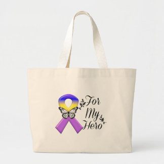 Bladder Cancer Ribbon For My Hero Large Tote Bag