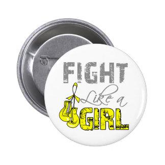 Bladder Cancer Ribbon Gloves Fight Like a Girl Pin