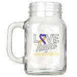 Bladder Cancer Ribbon Love Hope Awareness Mason Jar