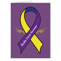 Bladder Cancer Ribbon with Wings Card