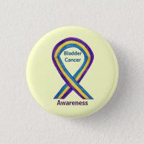 Bladder Cancer Stripes Awareness Ribbon Button Pin