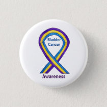 Bladder Cancer Stripes Awareness Ribbon Pin Button