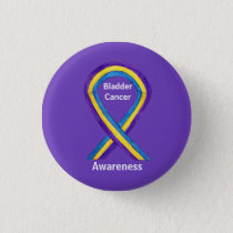 Bladder Cancer Stripes Awareness Ribbon Pin Button