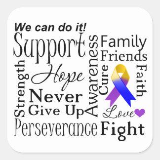 Bladder Cancer Supportive Words Square Sticker
