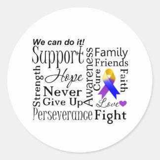 Bladder Cancer Supportive Words Classic Round Sticker