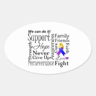 Bladder Cancer Supportive Words Oval Sticker