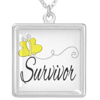 Bladder Cancer Survivor Butterfly Ribbon Pendants