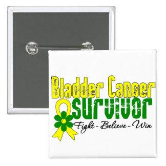 Bladder Cancer Survivor Flower Ribbon Pinback Button