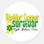 Bladder Cancer Survivor Flower Ribbon Classic Round Sticker