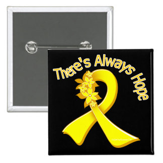 Bladder Cancer There's Always Hope Floral Pinback Buttons