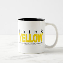 Bladder Cancer THINK Yellow Two-Tone Coffee Mug