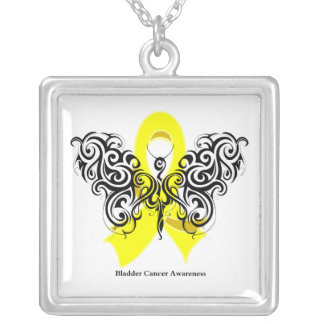 Bladder Cancer Tribal Butterfly Ribbon Necklaces