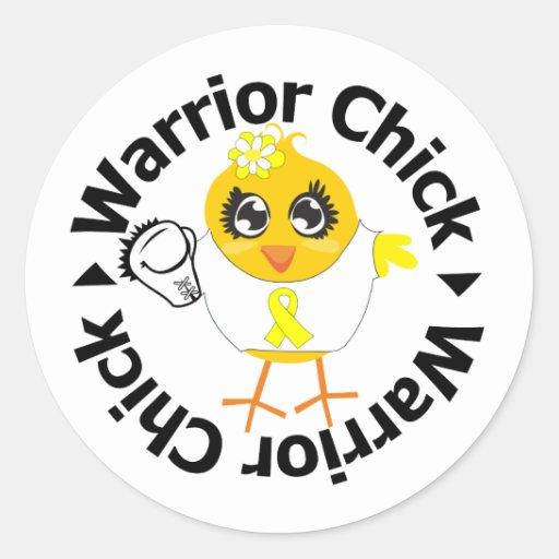 Bladder Cancer Warrior Chick Classic Round Sticker