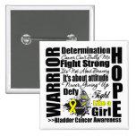 Bladder Cancer Warrior Fight Slogans Pinback Buttons