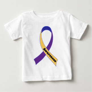 Bladder Cancer Yellow and Purple Ribbon Awareness Baby T-Shirt
