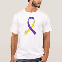 Bladder Cancer Yellow and Purple Ribbon Awareness T-Shirt