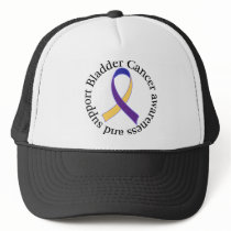 Bladder Cancer Yellow and Purple Ribbon Awareness Trucker Hat