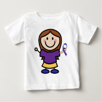 Bladder Cancer Yellow and Purple Ribbon Support Baby T-Shirt