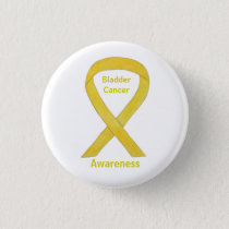 Bladder Cancer Yellow Awareness Ribbon Pin Button