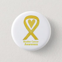 Bladder Cancer Yellow Heart Awareness Ribbon Pin