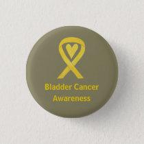 Bladder Cancer Yellow Heart Awareness Ribbon Pin