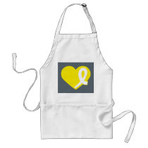 Bladder Cancer Yellow Heart Ribbon apron