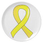 Bladder Cancer Yellow Ribbon 3 Dinner Plate