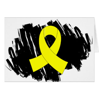 Bladder Cancer Yellow Ribbon With Scribble Card