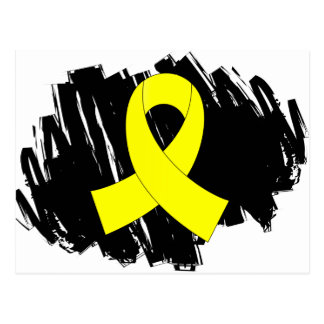 Bladder Cancer Yellow Ribbon With Scribble Postcard
