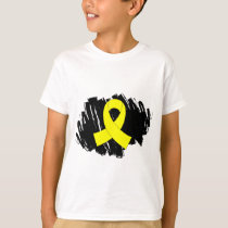 Bladder Cancer Yellow Ribbon With Scribble T-Shirt