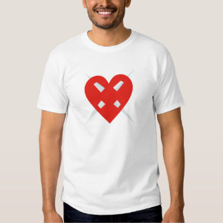 Blade heart perforated heart pierced heart t-shirt