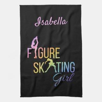 Blade Towel Figure skating rainbow on black