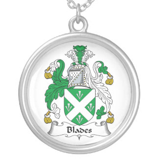 Blades Family Crest Round Pendant Necklace