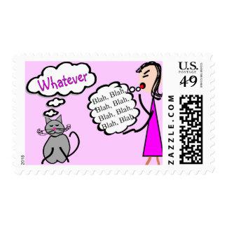"""Blah Blah Blah--Whatever!""--Cat Lovers Gifts Postage"