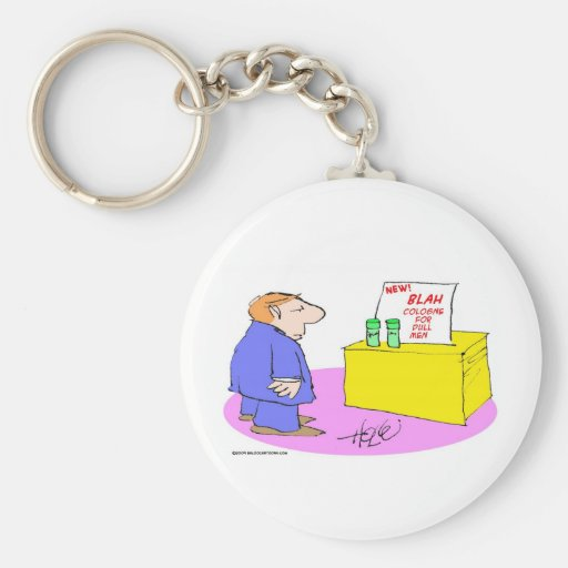 blah cologne for dull men basic round button keychain