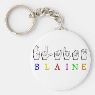 BLAINE FINGERSPELLED ASL LLAVERO REDONDO TIPO PIN