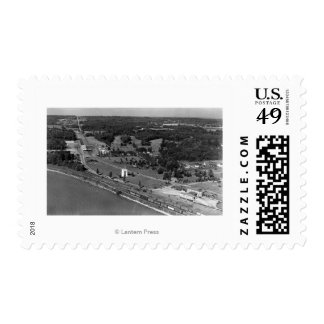 Blaine, WA Birds Eye View and Int. Peace Arch Postage Stamp