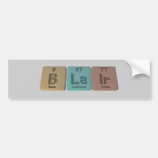 Blair como iridio del lantano del boro etiqueta de parachoque
