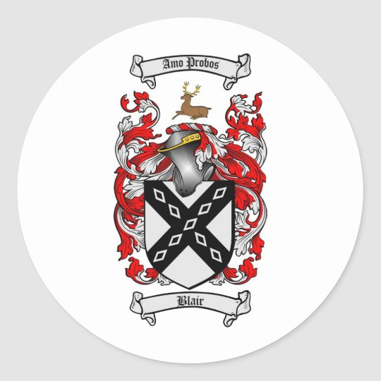 BLAIR FAMILY CREST -  BLAIR COAT OF ARMS CLASSIC ROUND STICKER