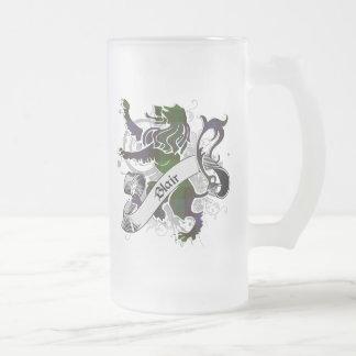 Blair Tartan Lion Frosted Glass Beer Mug