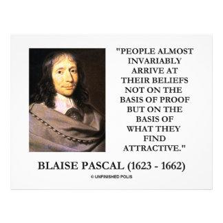 "Blaise Pascal Arrive At Beliefs Basis Attractive 8.5"" X 11"" Flyer"