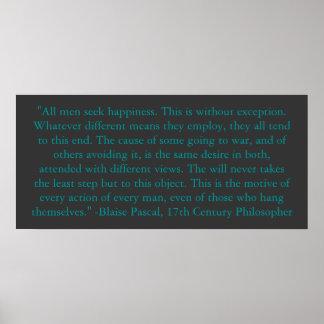 Blaise Pascal en la felicidad del hombre Poster