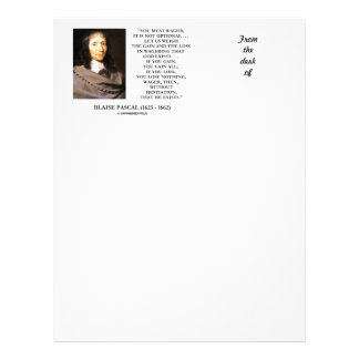 Blaise Pascal Gain Loss Wagering God Exists Quote Letterhead Design