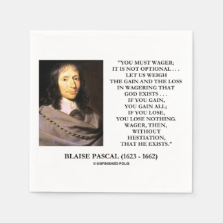 Blaise Pascal Gain Loss Wagering God Exists Quote Paper Napkin