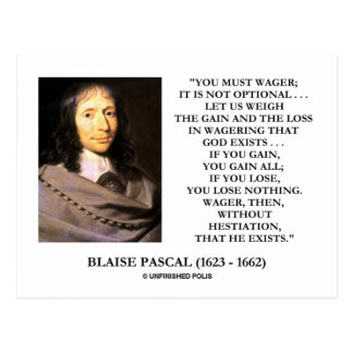 Blaise Pascal Gain Loss Wagering God Exists Quote Postcard